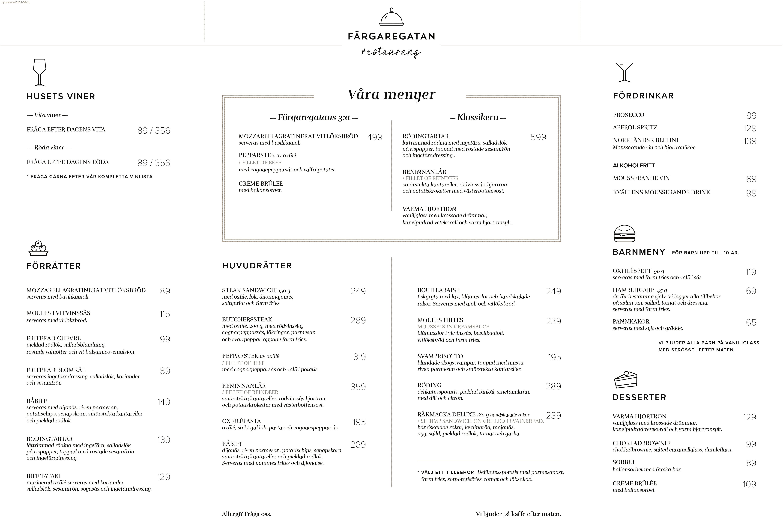 Bistromeny 2021 Färgaregatan